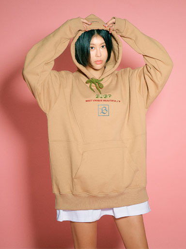 BUBP SIGNATURE OVER FIT HOODIE_BEIGE